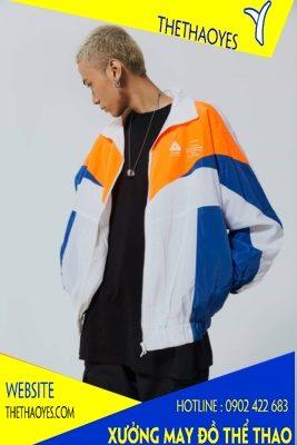 Áo khoác thể thao phối nhiều màu vải