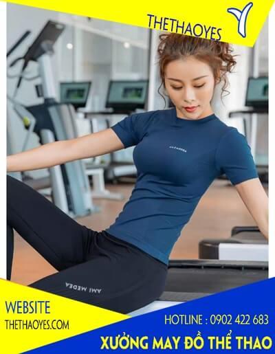 May áo thun thể thao nữ cổ tròn tập gym