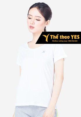 áo cổ tròn thể thao nữ màu trắng