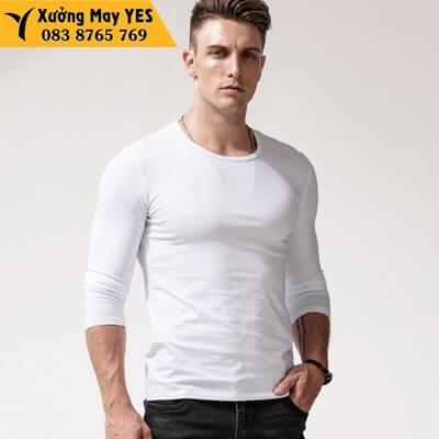 áo thun tay dài nam trắng