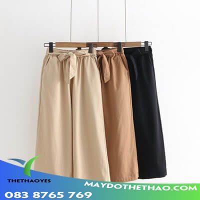 quần lửng ống rộng nữ đen