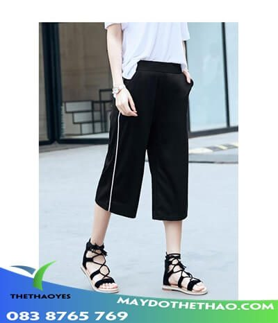 quần jean lửng nữ ống rộng