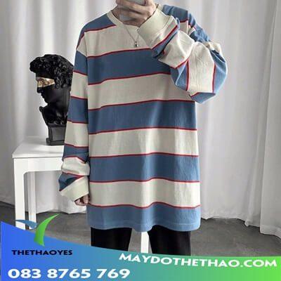áo thun tay dài nam sọc ngang 2020