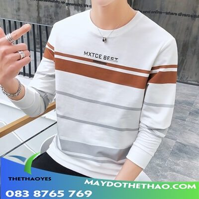áo thun tay dài nam sọc ngang 2019