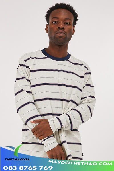 áo thun tay dài nam sọc ngang fake