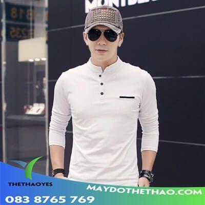 áo thun nam tay dài body trắng
